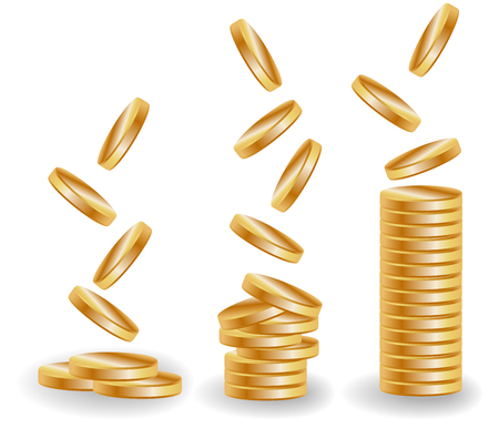 Three stacks of gold coins, an increasing income