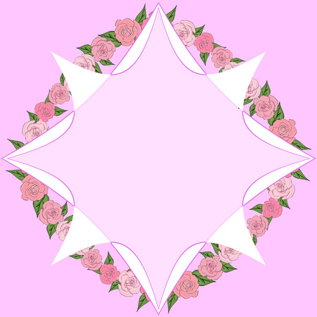 Octagonal frame on a background of roses with leaves of different sizes with space for text. Tenderness, wedding