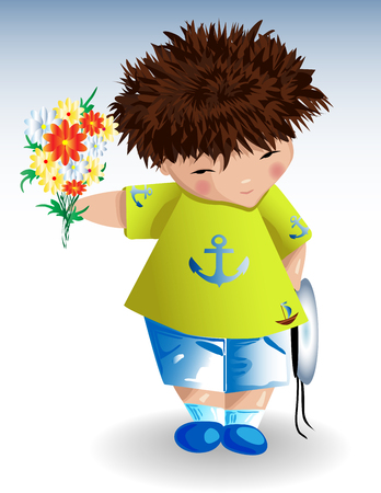 A sailor boy, white naval hat a green T-shirt with a painted anchor blue shorts with a bouquet of flowers in his hand