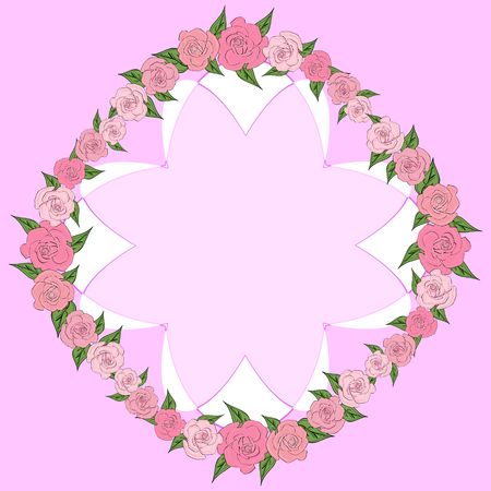 Round frame of roses with leaves of different sizes with space for text, inside a concave octagon. wedding Illustration