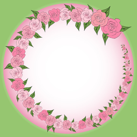 A round frame decorated with a wreath from gradually decreasing, increasing roses with leaves with space for text. Tenderness, wedding