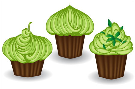 Three cupcakes with green cream, berries and powder. Sweet, dessert, delicious