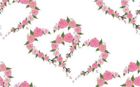 Seamless pattern of hearts consisting of delicate roses Hearts in pairs Illusztráció