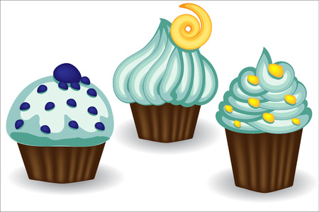 Three cupcakes with blue cream, berries and powder. Sweet, dessert, delicious