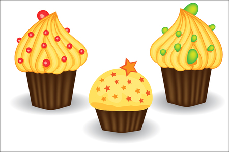 Three cupcakes with yellow cream, berries and powders. Sweet, dessert, delicious Illustration