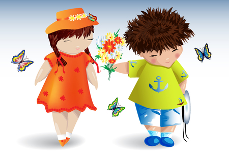 A boy in a T-shirt with an anchor gives a bouquet to a girl in an orange dress and hat, around fly butterflies, romance, love, a date.