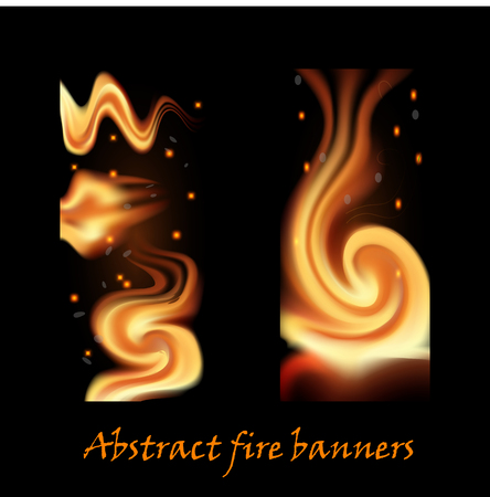 A set of abstract fire banners. Decoration, flames, sparks, ashes