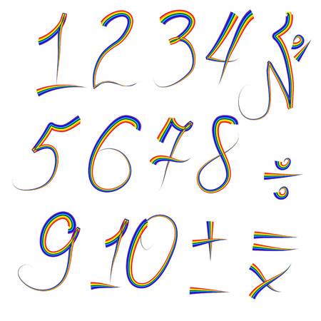 A set of digits from one to ten written in an iridescent outline, plus, minus, divide, multiply, equals Illustration