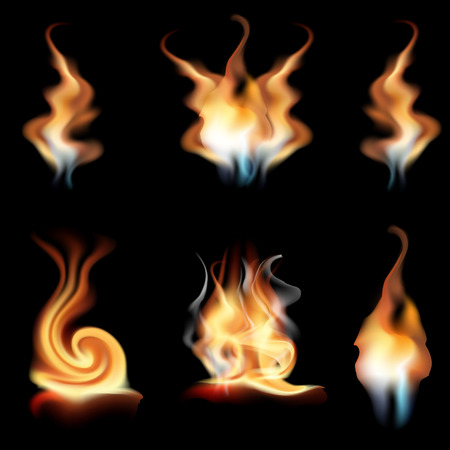 vector realistic fire flames collection isolated on black background. Burning spruts of flame effect with sparkles
