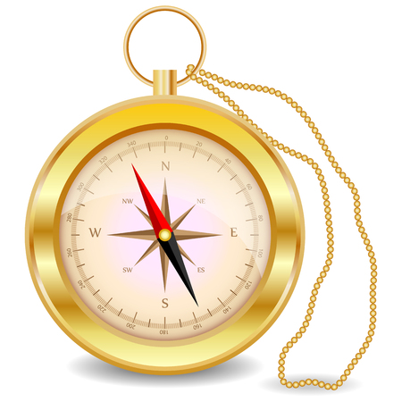 A golden compass with a wind rose on a gold chain. North, south, west, east, geography, coordinates, directions Illustration