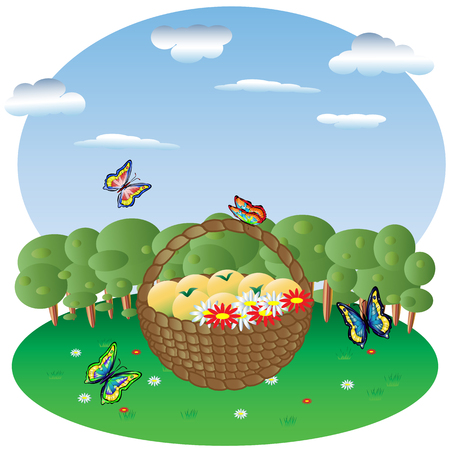 fly around: Basket with fruits and flowers in a forest glade, in the background forest and sky, Butterflies fly around Illustration