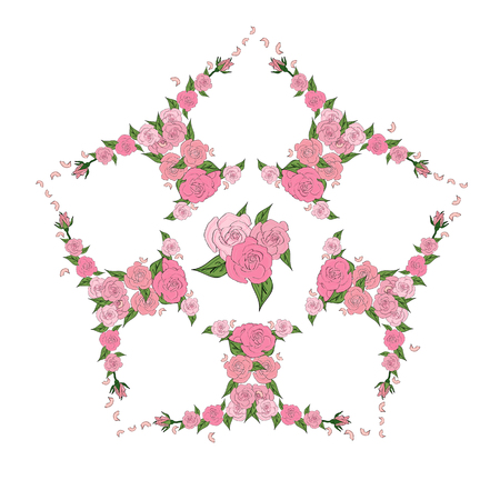 five star: Star, a flower of Five hearts consisting of delicate roses with a bouquet in the middle