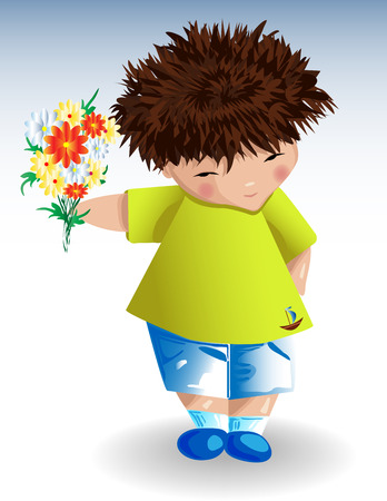 A boy,a green T-shirt with a painted anchor blue shorts with a bouquet of flowers in his hand Illustration