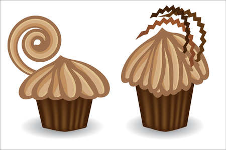 Two chocolate cakes, with chocolate, coffee cream. Sweet, dessert