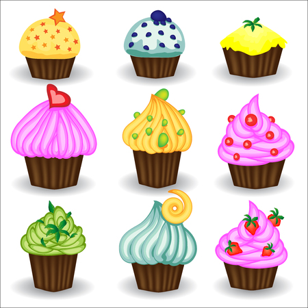 Vector set of nine colorful doodle cupcakes. Cupcakes decorated with cherry, strawberry and chocolate. Cupcakes vector illustration.