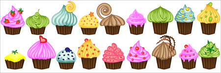 Vector set From eighteen colorful doodle cupcakes. Cupcakes decorated with cherry, strawberry and chocolate. Cupcakes vector illustration.