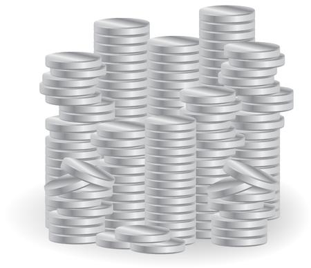 deposit slips: Piles of silver coins. Symbol of business success, prosperity. Illustration