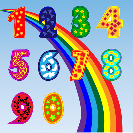 school bills: A set of bright figures for children from one to zero. A set of sweet numbers. Rainbow, poster for preschoolers.