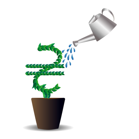laid: Green leaves laid out in the form of an international graphic designation of the Ukrainian hryvnia, a tree growing in a pot, sprinkled from the top with watering cans. Spray. Money, the concept of small investments bringing large incomes. Illustration