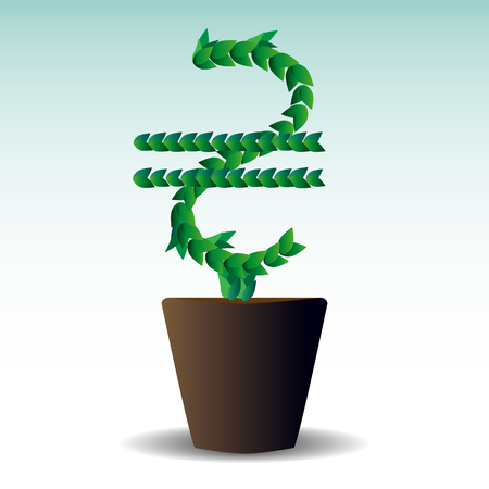 Green leaves laid out in the form of an international graphic designation of the Ukrainian hryvnia,a tree growing in a pot, sprinkled from the top. concept of small investments bringing large incomes Ilustrace