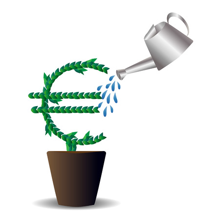 Green leaves laid out in the form of an international graphic designation of the euro, a tree growing in a pot, top-doused with watering cans. Spray. Money, the concept of small investments bringing large incomes. Illustration