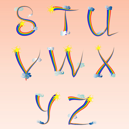 English alphabet, letters written in an iridescent outline, decorated with clouds and the sun. Curl, rainbow. Grammar, spelling, learning. Illustration