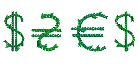 Green leaves laid out in the form of an international graphic designation of the US dollar, euro and Ukrainian hryvnia. Money, success, profit, business.