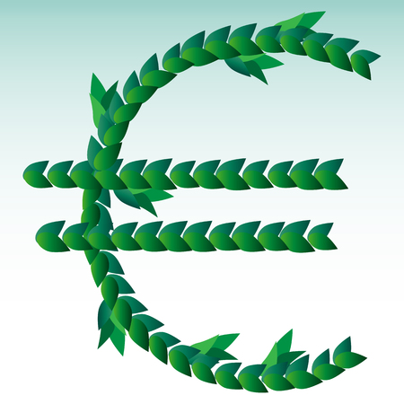 Green leaves laid out in the form of an international graphic designation of the euro. Money, success, profit, business.