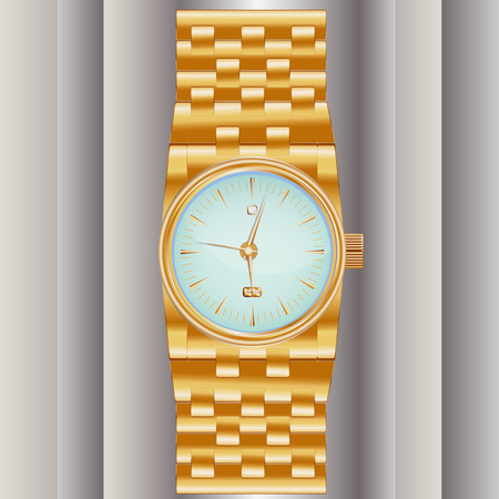 elaborate: Dear, prestigious mechanical mens watch with a gold bracelet, inlaid with diamond, showing the exact time and date.