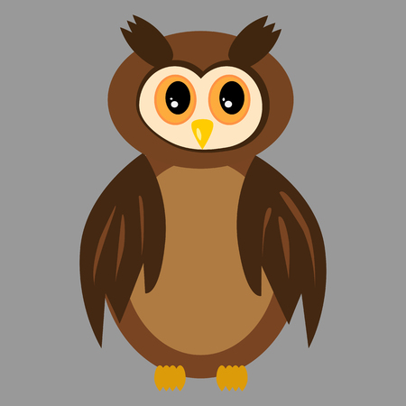 owl illustration: Isolated brown owl with open eyes.