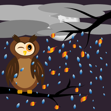 owl illustration: A brown owl screwed up his eyes while sitting on the branches of a tree with flying leaves, against the backdrop of an autumnal landscape, the sky was covered with clouds, the rain