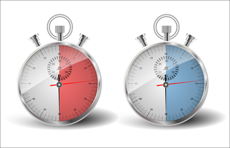 measured: Two stopwatches. A measured time of thirty seconds: to be in time, late. Illustration