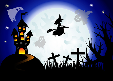 Halloween. The witch flies on a broomstick against the backdrop of a huge full moon. Night landscape, ghosts