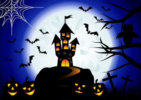 crosses: Halloween. Castle on the dais, full moon, night landscape. Silhouettes of owls, bats, crosses, tree branches