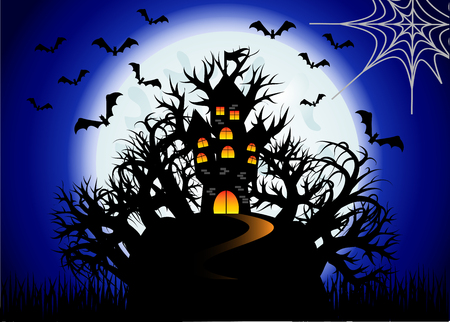 Halloween. The castle is on a hill in the midst of an ominous forest, full moon, night landscape. Flock of bats, cobwebs Illustration