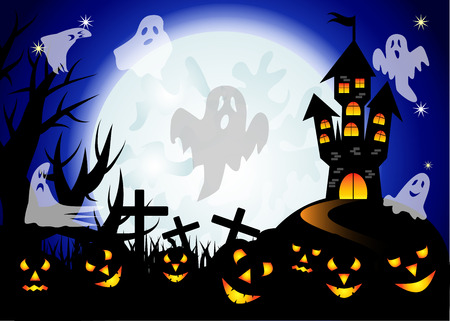 Halloween. Castle on the dais, full moon, night landscape. A pack of ghosts, crosses, jacks