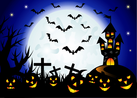 Halloween. Castle on the dais, full moon, night landscape. Silhouettes of crosses, tree branches, a flock of bats Ilustrace