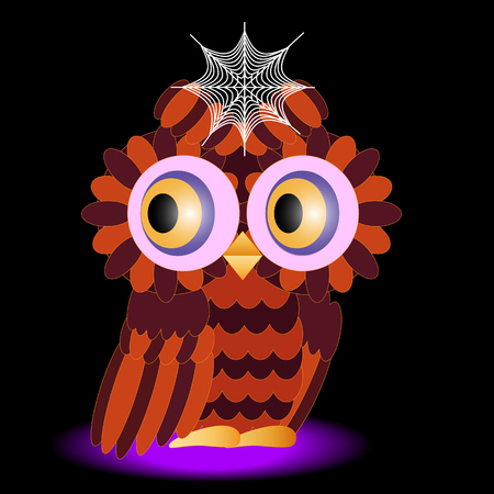 an owl painted in colors of a halloween, with a cobweb between brows on a black background Illustration