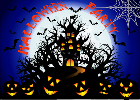 Halloween party. The castle is on a hill in the midst of an ominous forest, full moon, night landscape. Flock of bats, cobwebs, jacks Illustration