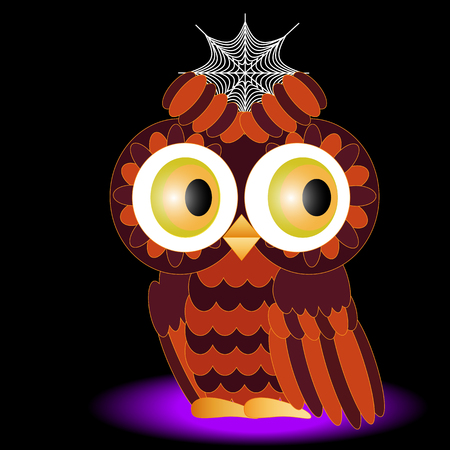 An owl painted in colors of a halloween, with a cobweb between brows on a black background.