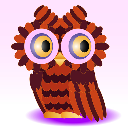 An owl painted in colors of a halloween, feathers orange and burgundy, wings and a stern detail detailed with feathers.
