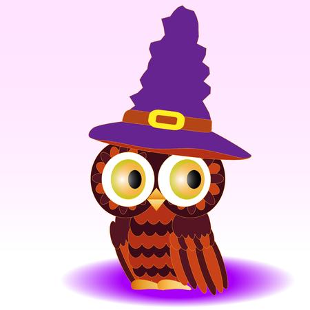 Een uil geschilderd in kleuren van halloween, in een spitse magische paarse hoed. Stock Illustratie