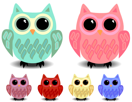 A set of six cute owls with black eyes, cartoon style, different colors. Illustration