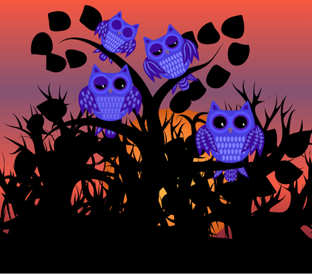 Four blue waking owls with open, half-open and closed eyes on a branch of a tree with leaves against the background of an orange sunset, the setting sun and black forest
