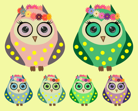 owl illustration: A set of six lovely owls with long eyelashes in wreaths of flowers, in different color variations in yellow pots