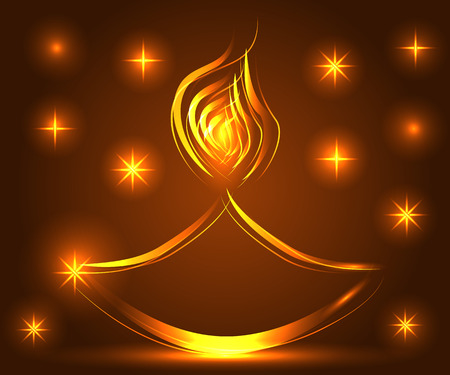 Diwali. Light background. Lamp, oil lamp with a burning fire on a warm brown background Ilustração