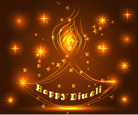 Happy Diwali. Light background. Lamp, oil lamp with a burning fire on a warm brown background Illustration