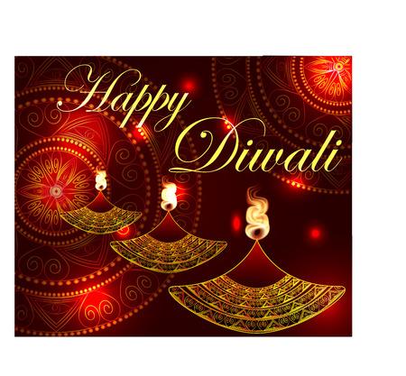 Feliz Diwali. Lámpara, lámpara de aceite con un fuego ardiente sobre un fondo de mandala. Fondo rojo. Foto de archivo - 85710790
