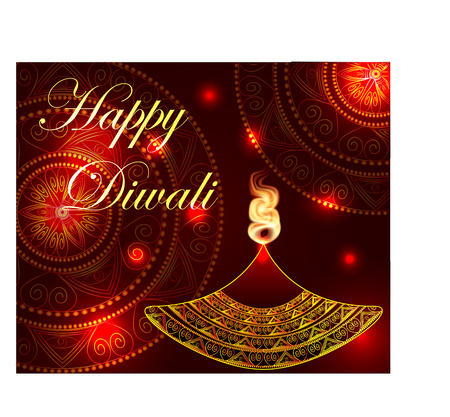 Happy Diwali. Lamp, oil lamp with a burning fire on a mandala background. Red background.
