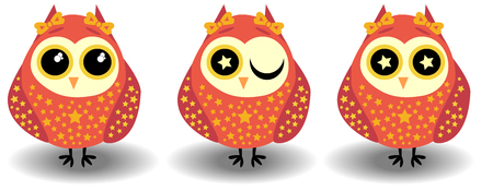 owl illustration: A set of three lovely owls-girls in red tones in sprockets, with bows on ears and different eyes Illustration